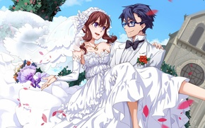Wallpaper flowers, wedding, bouquet, art, guy, anime, tianna, petals, girl, glasses, joy, veil