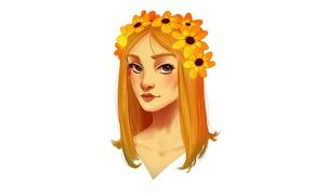 Picture girl, flowers, orange, head