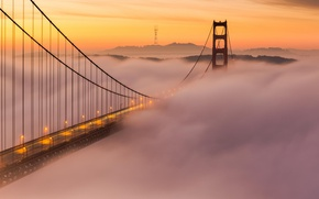 Wallpaper the city, fog, San Francisco, bridge, the evening, lights