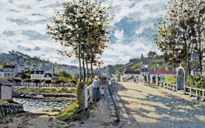 Wallpaper Claude Monet, picture, landscape, The bridge at Bougival