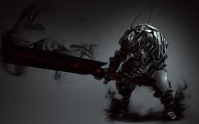 Picture sword, warrior, art, armor, monochrome