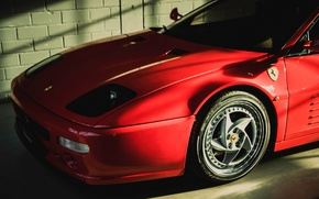 Wallpaper red, garage, Ferrari, the front, F 512 M