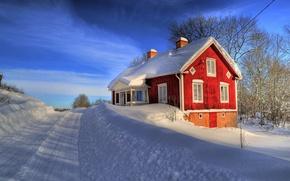 Wallpaper road, house, snow, winter