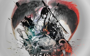 Picture weapons, wings, angel, anime, battle, girl
