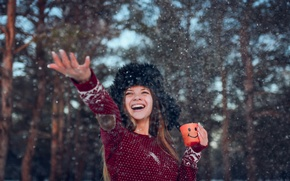 Picture winter, girl, snow, joy, mood