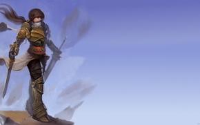 Picture girl, fantasy, sword, armor, art, Dwarf