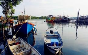 Picture view, color, village, boat, fisherman, malaysia, magnificent, kuantan, vivid
