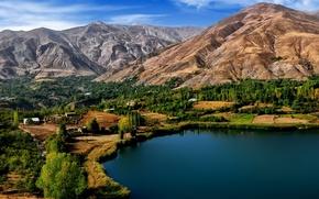 Picture trees, mountains, lake, Iran, Iran, Ovan Lake