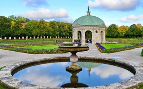 Picture Park, Germany, Munich, garden, fountain, Hofgarten, The Temple Of Diana