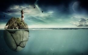Picture sea, fish, birds, rock, planet, lighthouse, art, pranjal22