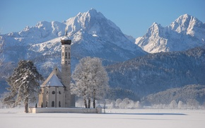 Wallpaper winter, snow, mountains, temple