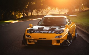 Picture The sun, Road, Mazda, Yellow, Mazda, Drift, Car, Yellow, RX-7