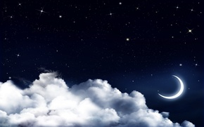 Picture the sky, clouds, night, stars, Crescent
