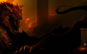 Picture fire, dragon, art, lord of the rings, The Hobbit, The Hobbit: The Desolation of Smaug, …