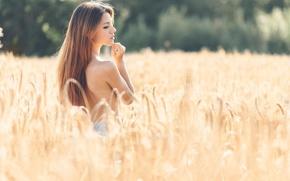 Picture field, summer, girl, profile, ears, Delaiah Gonzalez
