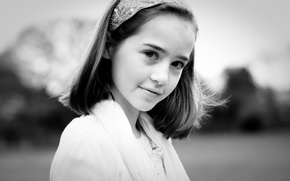 Picture look, children, face, black and white, mood, brunette, girl