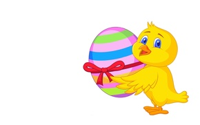 Picture background, holiday, gift, egg, art, Easter, bow, chicken, ribbon, Easter, children's