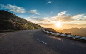 Picture road, the sun, dawn, mountain, morning, running, athlete, runner, run