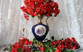 Picture flowers, berries, roses, vase, still life, cherry, napkin, tulle, infusion