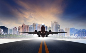 Wallpaper the sky, asphalt, mountains, the city, the plane, background, photoshop, runway, passenger, takes off