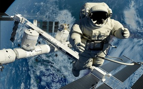 Picture space, astronaut, station, output, space, in the open