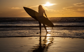 Picture sea, girl, sunset, sport, Board