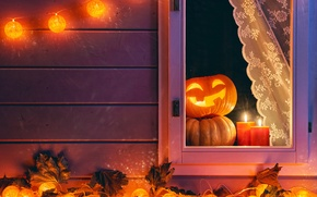 Picture autumn, night, window, Halloween, pumpkin, Halloween, autumn, pumpkin, candle, Holidays