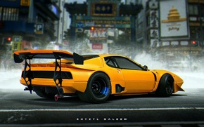 Picture Ferrari, Car, Art, Yellow, Future, Khyzyl Saleem