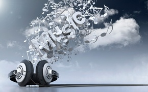 Picture clouds, music, music, headphones