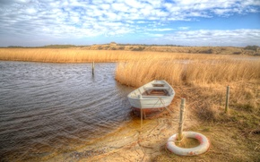 Picture the sky, grass, clouds, the reeds, coast, boat, HDR, rope, Denmark, columns, lifeline, Jutland