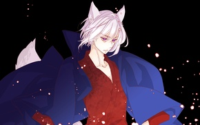 "Picture fantasy, anime, art, guy, ears, Tomoe, God "", ""Very nice, the Fox-demon"