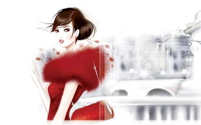Picture red, the city, Girl, lantern, handbag