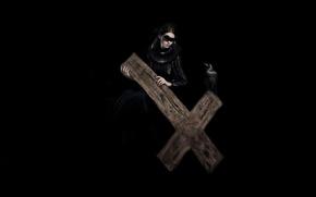 Picture darkness, cross, headband, black dress, Raven, Woman, rite