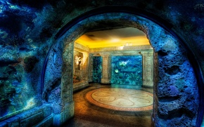 Picture mosaic, rock, house, octopus, cave, underwater, housing