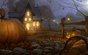 Wallpaper night, lights, house, art, Halloween, pumpkin, Halloween, the garden, guest