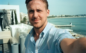 Picture sea, summer, photo, actor, shirt, Ryan Gosling, Ryan Gosling, Time, Jonas Unger