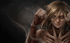 Wallpaper eyes, muscles, pose, Annie Leonhardt, Shingeki no Kyojin/ Attack On Titan