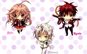 Picture katana, blue eyes, students, pink hair, chibiki, anise yumamoto, kaede higa, kiss of rose princess, …