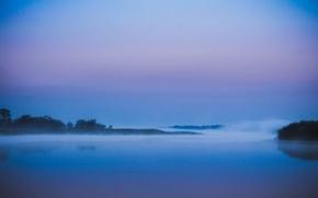 Picture fog, river, twilight