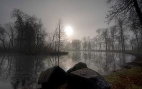 Picture autumn, fog, pond, stone