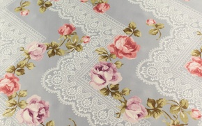 Picture white, flowers, pattern, figure, Shine, roses, texture, fabric, lace, silk, textiles