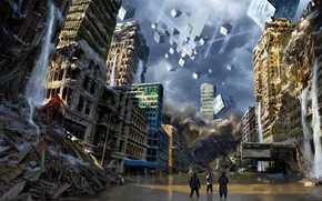 Picture the city, fiction, art, devastation, cube, romantically apocalyptic