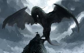 Picture rock, dragon, people, wings, power, art, summoning fantasy