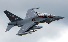 Picture the plane, turn, pilots, the Yak-130