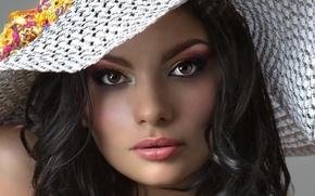 Picture look, face, model, hat, lipstick, brunette, lips