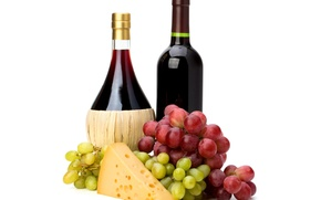 Picture wine, red, bottle, cheese, grapes, wine, grapes, cheese