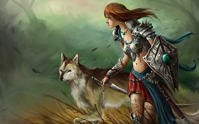Picture grass, girl, the wind, patterns, wolf, sword, tattoo, art, shield