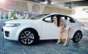 Picture girl, Girls, dress, glasses, KIA, white car