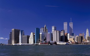 Wallpaper the city, river, Wallpaper, skyscrapers, wallpaper, new York, new york, world trade center, wtc, Manhattan, ...