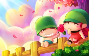 Picture summer, the game, anime, art, two, date, Valentine's day